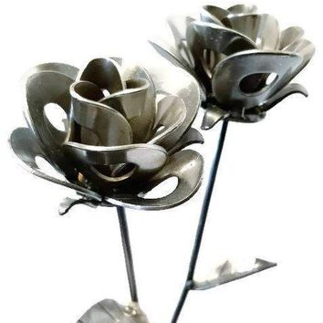 Two Metal Roses, Metal Rose Pair, Metal Rose Sculptures, Steampunk Roses, Two Welded Roses.