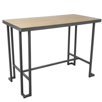 Roman Industrial Counter Table Gray / Natural Bamboo Wood