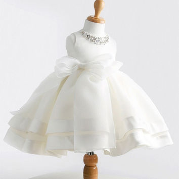 2015 Hot Flower Girl Dress for Wedding Kids Princess Dresses with Bow Sequins Collar Birthday Gift for Child Girls Party Costume = 1945840580