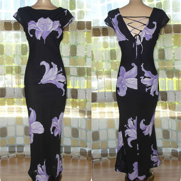 Vintage 90s Retro 30s Black & Purple Orchid Bias Harlow Gown 7 S/M Formal Gatsby Dress