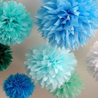 Over Oceans ... 10 tissue paper poms // beach wedding // nursery decoration // birthday party // engagement // decorations