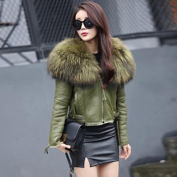 Women Genuine Sheep Leather Jacket Lady Real Merino Sheepskin Leather Jacket with Raccoon Fur Collar Natural Sheep Leather Coat