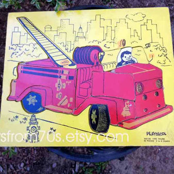 Playskool Fire Truck 360-26 wood puzzle,  great first responders collectible, boys nursery decor, man cave