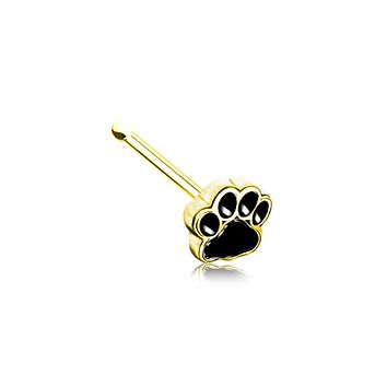 Golden Animal Lover Paw Print WildKlass Nose Stud Ring