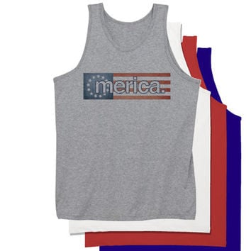 Merica Bars and Stripes July 4th Tank Top | Fourth of July Tanktop | Funny 4th of July Party Shirts Tank Tops Tees Hoodies and more