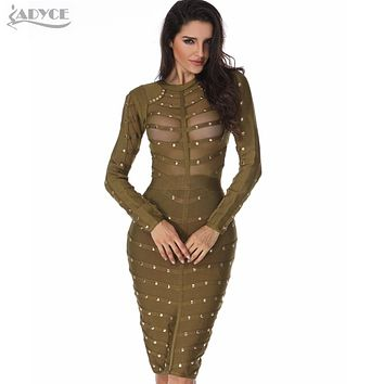 Sexy Women Dress Mesh Studded Button Olive Red Black High Neck Bodycon Dress Celebrity Party Bandage Dresses