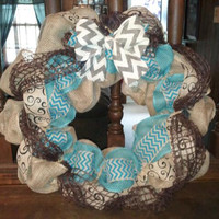Teal and chevron burlap wreath