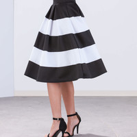 Aim To Pleats Striped Midi Skirt GoJane.com