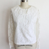 Vintage 60s White Lace Scallop Frill Collar Sheer Blouse // Button Up Top