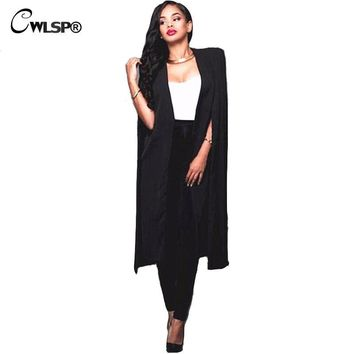Autumn Trench Coat Women Long Cloak A-Line Open Stitch Topcoat Casual Sleeveless Palto