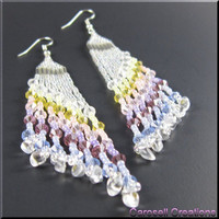 Long Pastel Rainbow Chandelier Dangle Beadwork Seed Bead Earrings