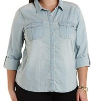 Plus Size Lt Wash Denim Button-Up Chambray Top by Charlotte Russe