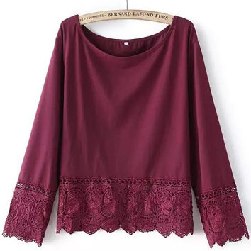 Burgundy Round Neck Lace Loose Blouse