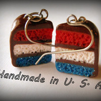 Red White and Blue Chocolate Cake Dangle Earrings. Patriotic Cute Kawaii Polymer Clay Charms Made in USA of ALL USA Materials. Nickel Free