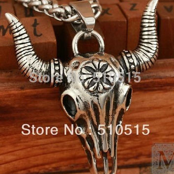 Totem Bison Buffalo Bull Head Skull Necklace