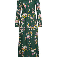Green Floral Print Buttoned Front Maxi Dress