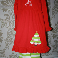 Girls Tunic and Ruffle Pants Christmas outfit comes with monogram
