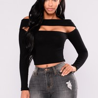 Love Potion Off Shoulder Top - Black