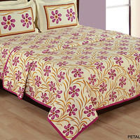 Purple Floral Bedding set with two matching pillow covers/90x108 inches/Bedspread/Bed sheets