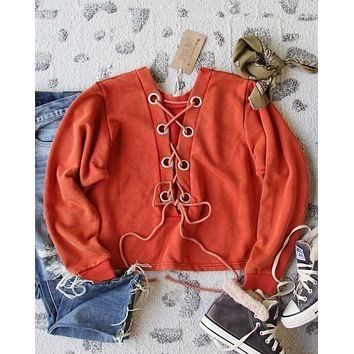 Bailey Tie Back Sweatshirt in Rust