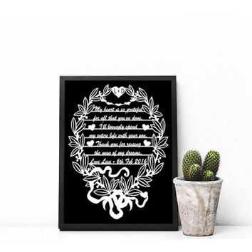Thank you for raising the man of my dreams - Mother In Law Gifts - Paper Cutting Art - Mother of the Groom - Wedding Party Gifts