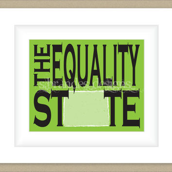 8x10 Wyoming Print, The Equality State Typography Art Custom Color Map Art