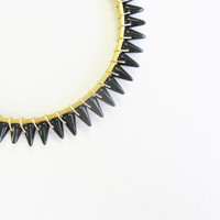 Black spike and gold stackable bangle, gold bangle, rustic bangle, Jet black, spike bangle, spike bracelet, gold spike