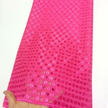 New Arrival High Quality Swiss Voile Lace Fabric Fuchsia Embroidery African cotton Lace Fabric For Wedding dress