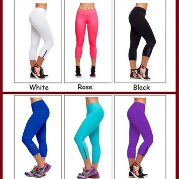 Women's Candy Color Ninth-Pointed SportsWear Zip Tights Leggings New Sale Pants 6 colors = 1933135236