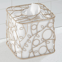Twigz Bath Collection Tissue Box Holder, White/Pearl Champagne