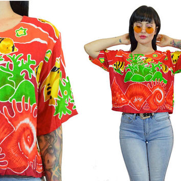 vintage 90s VIVID underwater print tshirt button up slouchy fish ocean aquarium kawaii Cute graphic novelty top blouse small medium