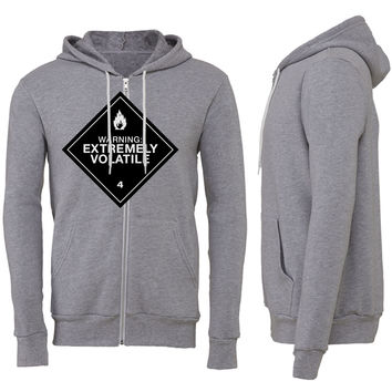 Warning Extremely Volatile Zipper Hoodie