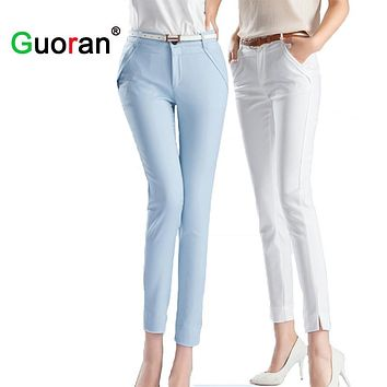 {Guoran} High Quality Women Office Work Pants Black White Blue Ladies Trousers Ankle-length Pencil Pants Femme 2017 Plus Size