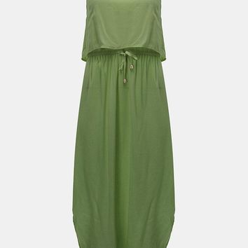 Women Strap Backless Drawstring High Low Evening Party Maxi Dress