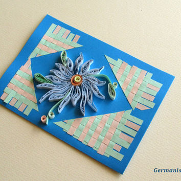 Flower Quilling Card With Quilled Flower, Flower Handmade Quilled Paper Card with Braided Paper Strips