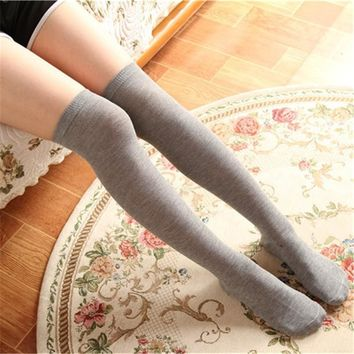 4 Colors Sexy Thigh High Socks Cotton Knee Socks Stretch 2017 New Soft Knitted Fall Winter For Ladies Girls Women
