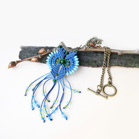 Bohemian blue green necklace, micro macrame necklace, boho chic, fringe necklace, beaded pendant, free spirit mood, gift idea, blue pendant