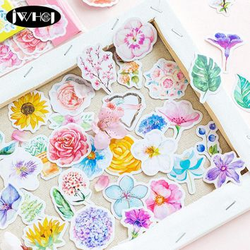 45pc/bag Beautiful watercolor flowers sticker decoration paper sticker diy handmade diary album scrapbooking sticker Arts,Crafts