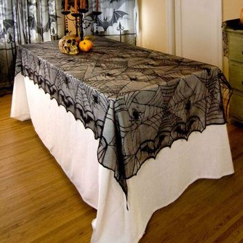 ONETOW 1 Pcs Lace Black Spider Web Halloween Tablecloth Tablecover Rectangle 240*120 cm Halloween  Decoration  Decor Props