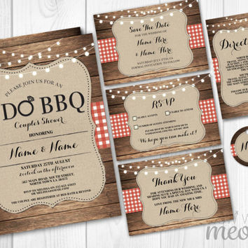 Rustic I Do BBQ Wedding Invitations Set Template Package Printable Invites Save The Date INSTANT DOWNLOAD Tag Red Check Burlap Wood Editable
