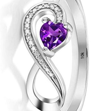 CERTIFIED 0.22 Ct 10K White Gold Purple Amethyst and Diamond Infinity Ring