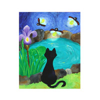 Original Painting, BLACK CAT and FIREFLIES No.4, 16x20 acrylic on canvas. Whimsical wall art decor.