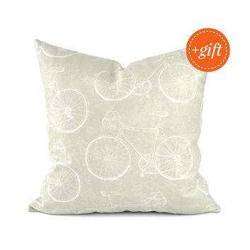 Neutral Throw Pillow Cover, Couch Throw Pillow, Couch Pillow Cover. Very Cool Pillow Case that Features Retro Hipster Bikes on Both Sides