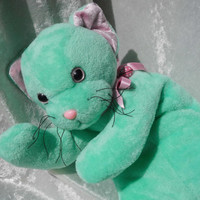 Stuffed animal CAT SEAFOAM KITTEN plush mint teal handmade floppy soft cat mint teal seafoam plushie floppy cat soft toys unique ooak cat