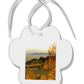 Nature Photography - Gentle Sunrise Paw Print Shaped Ornament by TooLoud
