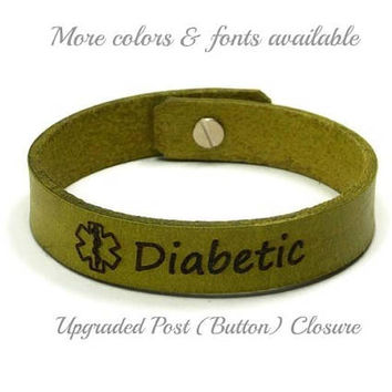 Diabetes Bracelet Leather, Medic Alert Bracelet, Engraved Diabetic Bracelet, Medical Alert, Custom Leather ID Bracelet, Gifts Under 20