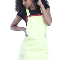 Pastel Color Distressed Cotton Adjustable Buckle Strap Overall Mini Dress