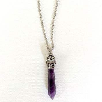 Skull Prism Necklace, Amethyst with Steel Chain