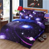 Bedding Set 3D Planet Star Duvet Cover Set Flat Sheet And Pillow Cases Galaxy Bedspread Mattress Cover Queen size