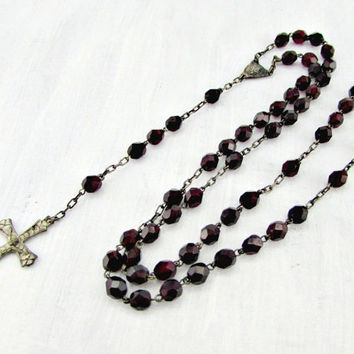 Antique Catholic Rosary Necklace, Red Glass Crystal Bead Rosary Necklace, Silver Rosary Necklace, 1930s Art Deco Christian Religious Jewelry